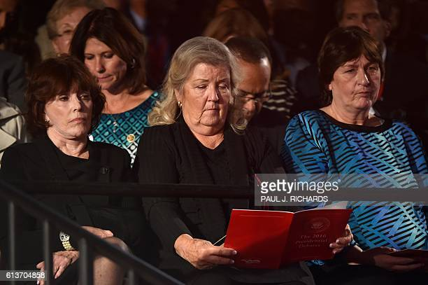 Kathleen Willey Juanita Broaddrick and Kathy Shelton are seated for the second presidential debate between Republican presidential nominee Donald...