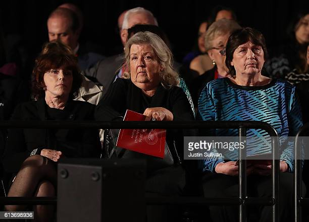 Kathleen Willey Juanita Broaddrick and Kathy Shelton look on during the second presidential debate with democratic presidential nominee former...