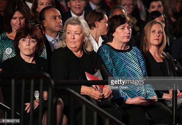 Kathleen Willey Juanita Broaddrick and Kathy Shelton sit before the town hall debate at Washington University on October 9 2016 in St Louis Missouri...