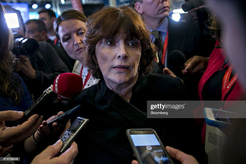 Kathleen Willey speaks to members of the media in the spin room after the second U.S. presidential debate at Washington University in St. Louis, Missouri, U.S., on Sunday, Oct. 9, 2016. Donald Trump and Hillary Clinton combined salacious charges about past sexual scandals with sober discussion of substantive topics during their second presidential debate Sunday night following a weekend of unprecedented crisis in the Republican nominee's campaign. Photographer: Andrew Harrer/Bloomberg via Getty Images