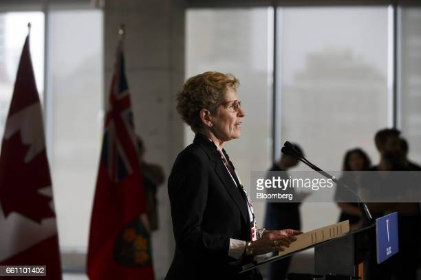 Kathleen Wynne premier of Ontario speaks during an event at the Vector Institute at the MaRS Discovery District in Toronto Ontario Canada on Thursday...