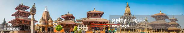 kathmandu ancient temples and shrines patan durbar square panorama nepal - nepal stock pictures, royalty-free photos & images