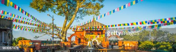 kathmandu buddhist prayer flags swayambhunath monkey temple sunrise panorama nepal - stupa stock pictures, royalty-free photos & images