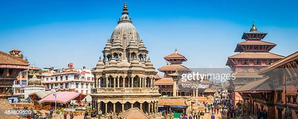 Kathmandu crowds around ancient temples palaces Patan Durbar Square Nepal