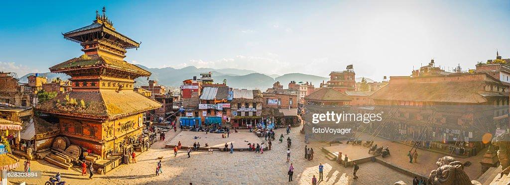 Kathmandu golden sunset light illuminating ancient square temples Bhaktapur Nepal : Stock Photo