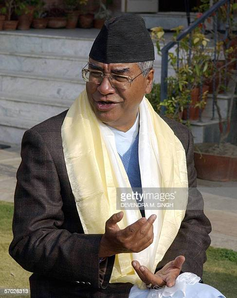 Former Nepalese prime minister Sher Bahadur Deuba briefly talks to the media upon his release from prison in Kathmandu 14 February 2006 Sher Bahadur...