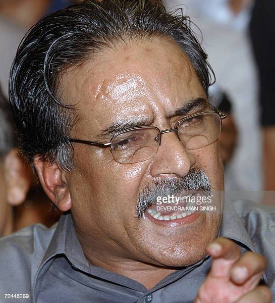 In this file photograph taken 16 June 2006 Maoist Chairman Pushpa Kamal Dahal popularly known as 'Prachanda' addresses the press after meeting with...