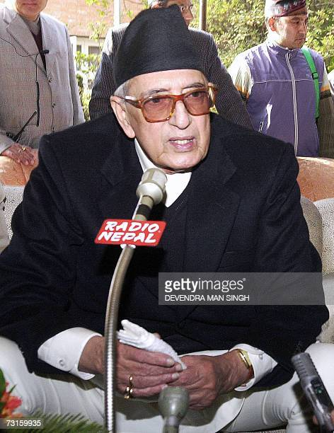 In this file picture taken 24 January 2007 Nepalese Prime Minister Girija Prasad Koirala addresses media representatives at his residenvce Nepal's...