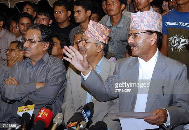 Nepalese Home Minister Krishna Sitaula with General Secretary of Nepal Communist Party Marxist and Leninist Madhav Kumar Nepal and Maoist Chairman...