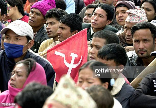 Nepalese Maoist supporters listen to the Maoist Chairman Prachanda during a rally in Kathmandu 13 February 2007 Maoist Chairman Prachanda for the...