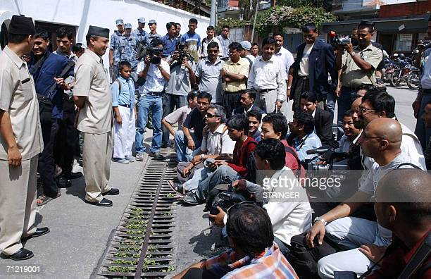 Nepalese media stage a sitin protest during a meeting between Maoist Chairman Pushpa Kamal Dahal known as Prachanda and Nepalese Prime Minister...