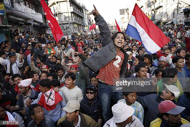 Nepalese political activists chant slogans against King Gyanendra at a prodemocracy protest rally in Kathmandu 19 April 2006 The crippling effects of...