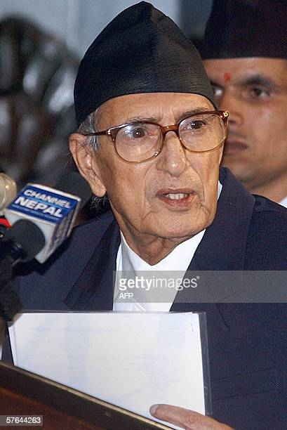 Nepal's Prime Minister Girija Prasad Koirala addresses Members of Parliament in Kathmandu 18 May 2006 Nepal's parliament unanimously passed a...