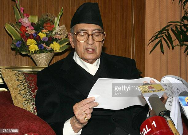 Nepal's Prime Minister Girija Prasad Koirala addresses the Nation in Kathmandu 07 February 2007 Koirala said that the temporary interim constitution...