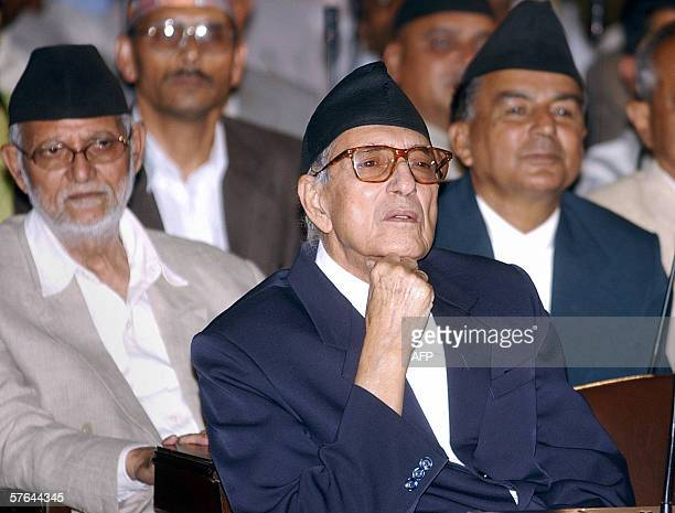 Nepal's Prime Minister Girija Prasad Koirala Deputy President and General Secretary of the Nepali Congress Shushil Koirala and Member of Parliament...
