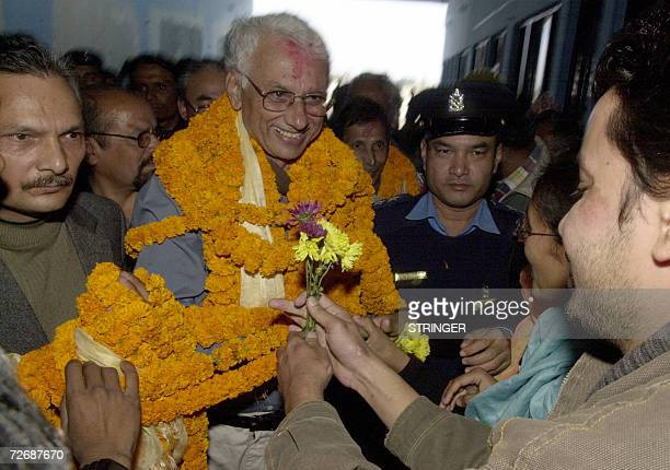 Senior Nepalese Maoist leader CP Gajurel ''Gaurav'' is welcomed by family members colleagues and Maoist number two leader Baburam Bhattrai after...