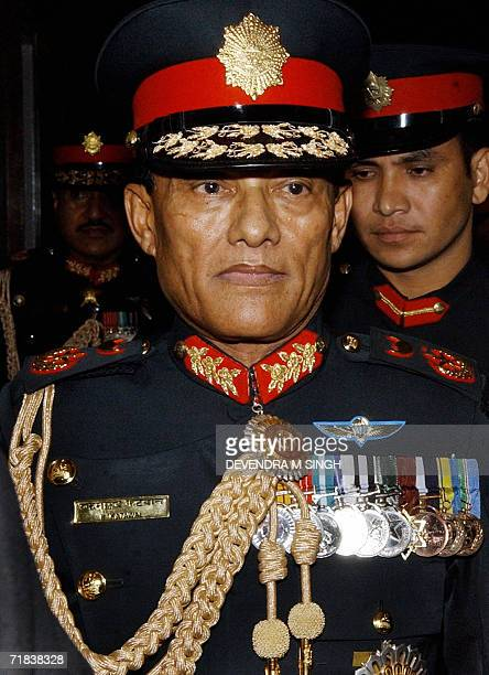 The new Chief of Army Staff Lieutenant General Rukmangat Katuwal leaves after receiving insignia from Prime Minister Girija Prasad Koirala in...