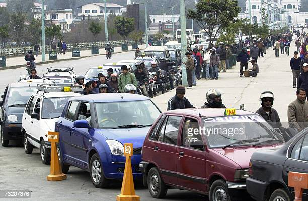 Vehicles and motor bikes wait in a long queue at an Army Petrol station as almost all petrol stations have stopped distribution of petrol and diesel...