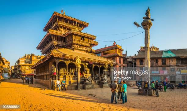 Kathmandu sunset light illuminating ancient temples in Bhaktapur panorama Nepal