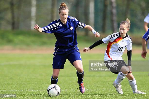 Kathrin Becker of Germany U16 challenges Sophie Howard of Baden during the match between germany U16 and Baden during the Women's U19 Federal State...
