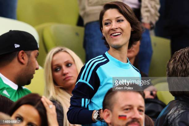 Kathrin Gilch girlfriend of Manuel Neuer of Germany looks on during the UEFA EURO 2012 quarter final match between Germany and Greece at The...