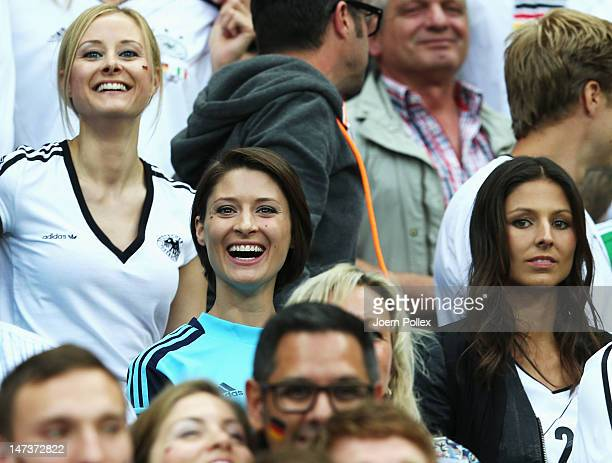 Kathrin Gilch smiles during the UEFA EURO 2012 semi final match between Germany and Italy at the National Stadium on June 28 2012 in Warsaw Poland