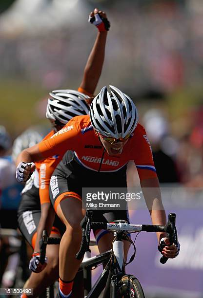 Kathrin Goeken and Kim van Dijk of Netherlands rides in the Women's Individual B Cycling Road Race on day 10 of the London 2012 Paralympic Games at...
