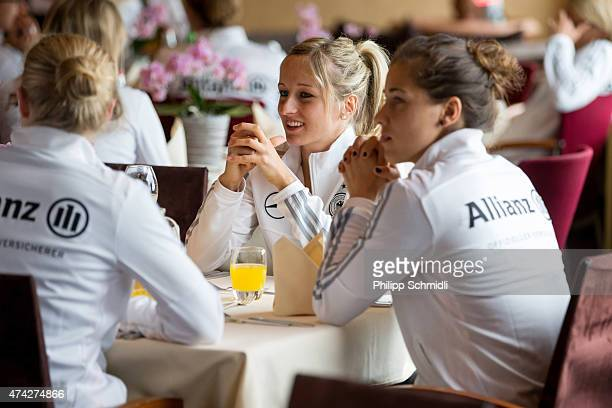 Kathrin Hendrich and Lisa Weiss attend a meet and greet sponsors barbecue at the Germany women's training camp on May 21 2015 in Wollerau Switzerland
