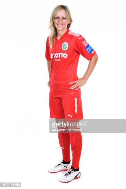 Kathrin Hendrich of 1 FFC Frankfurt poses during the Allianz Frauen Bundesliga Club Tour at Stadion am Brentanobad on August 25 2017 in Frankfurt am...