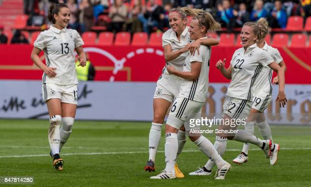 Kathrin Hendrich of Germany celebrates the third goal for her team with her teammtes during the 2019 FIFA women's World Championship qualifier match...
