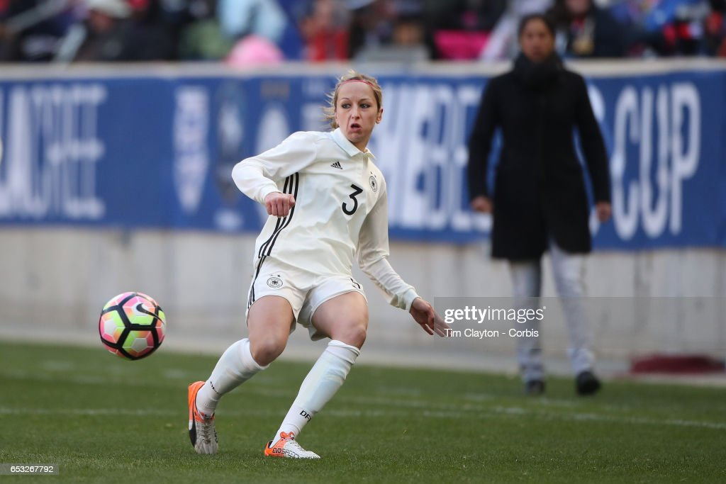 Kathrin Hendrich #3 of Germany in action during the France Vs Germany SheBelieves Cup International match at Red Bull Arena on March 4, 2017 in Harrison, New Jersey.