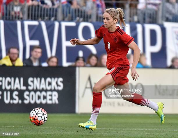 Kathrin Hendrich of Germany plays against England in a friendly international match in the Shebelieves Cup at Nissan Stadium on March 6 2016 in...