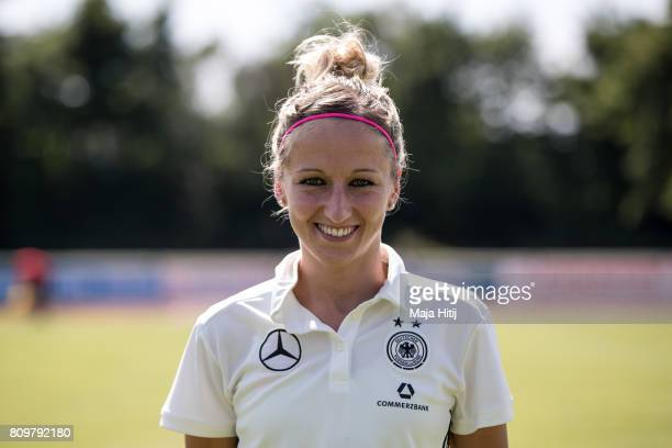 Kathrin Hendrich poses during Germany Women's Team Presentation on July 6 2017 in Heidelberg Germany