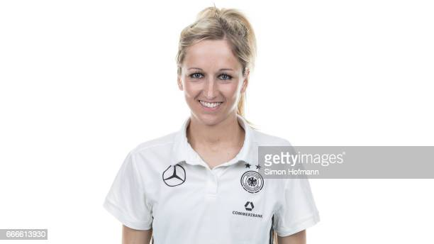 Kathrin Hendrich poses during the DFB Ladies Marketing Day on April 3 2017 in Frankfurt am Main Germany
