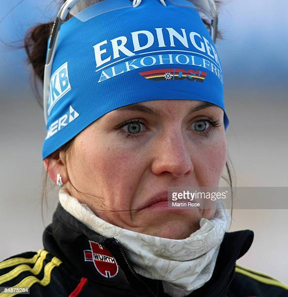 Kathrin Hitzer of Germany poses prior the Women's 15 km individual of the IBU Biathlon World Championships on February 18 2009 in Pyeongchang South...