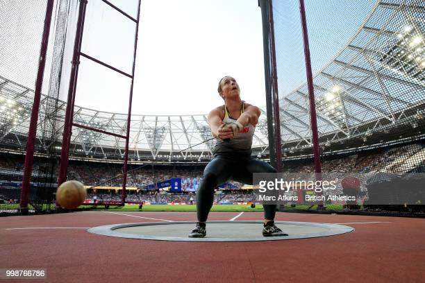 Kathrin Klaas of Germany celebrates during the Women's Hammer Throw during day one of the Athletics World Cup London at the London Stadium on July...