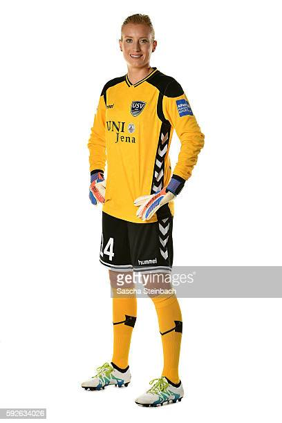 Kathrin Laengert of USV Jena poses during the Allianz Women's Bundesliga Club Tour on August 18 2016 in Jena Germany