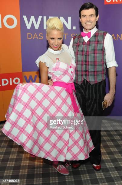 Kathrin Menzinger and Hubert Neuper attend the 'Dancing Stars' presscall at Parkhotel Schoenbrunn on April 30 2014 in Vienna Austria