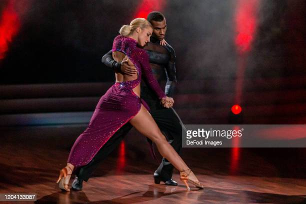 Kathrin Menzinger and Tijan Njie looks on during the 1st show of the 13th season of the television competition Let's Dance on February 28 2020 in...