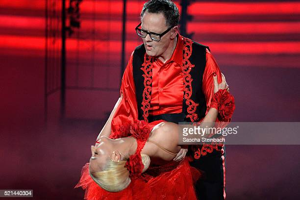 Kathrin Menzinger and Ulli Potofski perform on stage during the 5th show of the television competition 'Let's Dance' at Coloneum on April 15 2016 in...