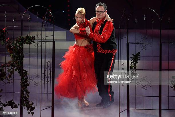 Kathrin Menzinger and Ulli Potofski perform on stage during the 5th show of the television competition 'Let's Dance' at Coloneum on April 15, 2016 in...
