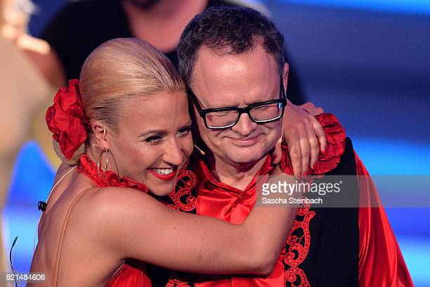 Kathrin Menzinger and Ulli Potofski react during the 5th show of the television competition 'Let's Dance' at Coloneum on April 15, 2016 in Cologne,...