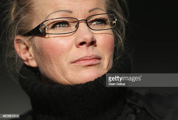 Kathrin Oertel former spokeswoman for Pegida and now head of the DDfE attends the first DDfE rally on February 8 2015 in Dresden Germany Oertel and...