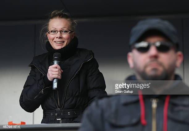Kathrin Oertel former spokeswoman for Pegida and now head of the DDfE speaks at the first DDfE rally on February 8 2015 in Dresden Germany Oertel and...