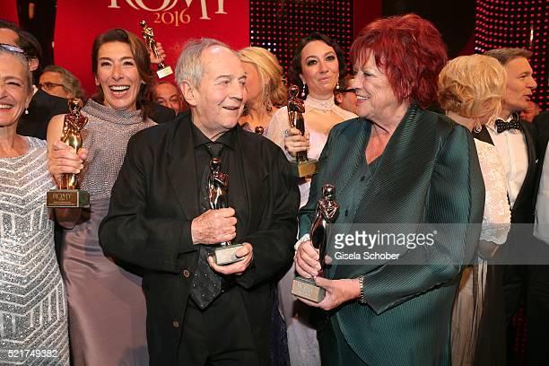 Kathrin Zechner Adele Neuhauser Otto Schenk and Regina Ziegler pose with their awards during the 27th ROMY Award 2015 at Hofburg Vienna on April 16...