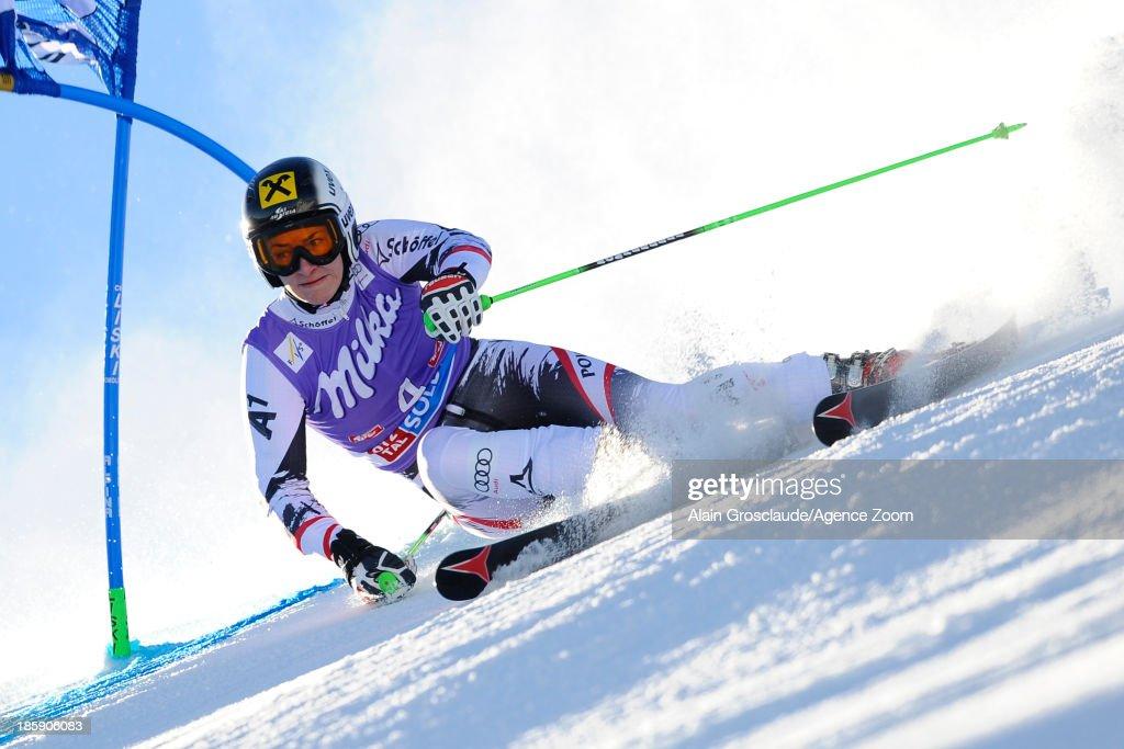 Kathrin Zettel of Austria competes during the Audi FIS Alpine Ski World Cup Women's Giant Slalom on October 26, 2013 in Soelden, Austria.