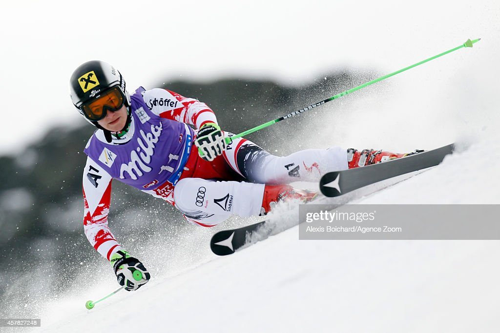 Kathrin Zettel of Austria competes during the Audi FIS Alpine Ski World Cup Women's Giant Slalom on October 25, 2014 in Soelden, Austria.