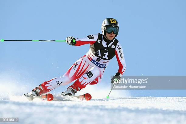 Kathrin Zettel of Austria competes in the Women's giant slalom event of the Woman's Alpine Skiing FIS World Cup at the Rettenbachgletscher on October...