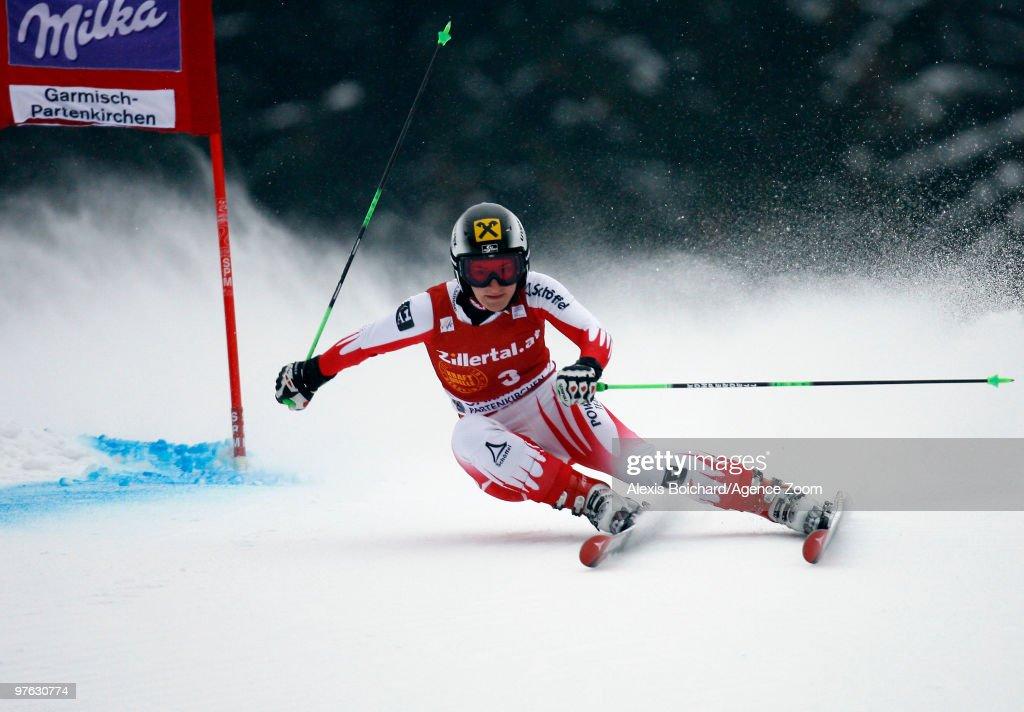 Kathrin Zettel of Austria skis during the Audi FIS Alpine Ski World Cup Women's Giant Slalom on March 11, 2010 in Garmisch-Partenkirchen, Germany.