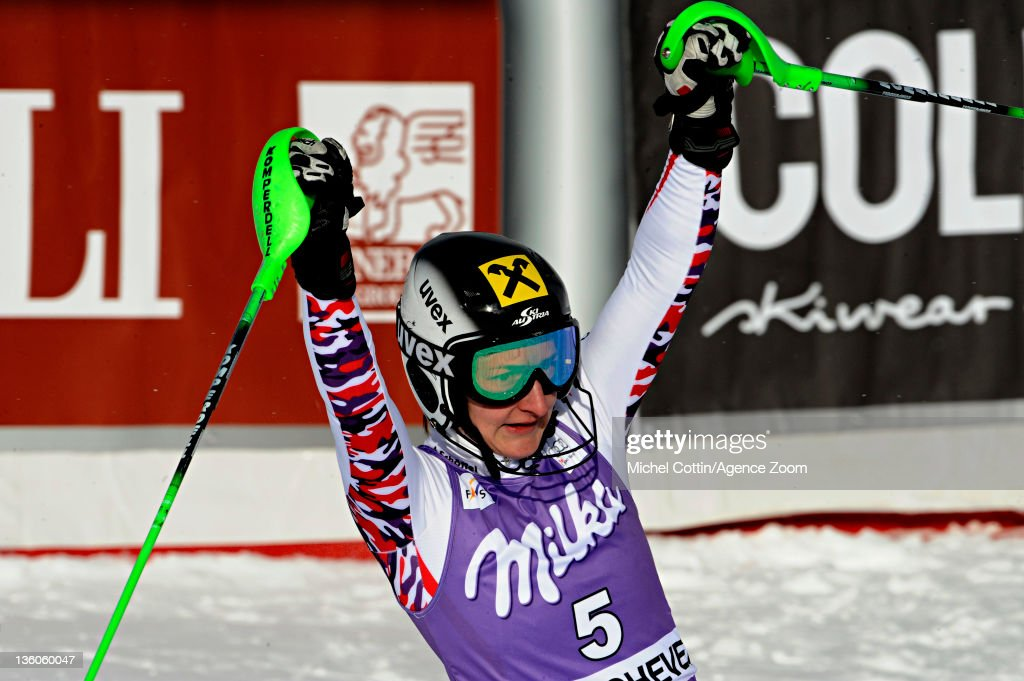 Kathrin Zettel of Austria takes 3rd place during the Audi FIS Alpine Ski World Cup Women's Slalom on December 18, 2011 in Courchevel, France.